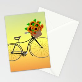 Bicycle Sunflowers Stationery Cards