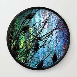 Birds of A Feather Abstract Digital Artwork by Mark Compton Wall Clock