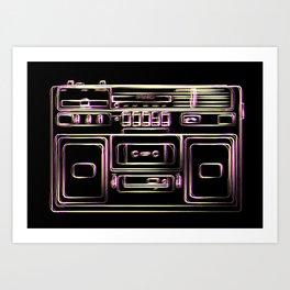 boombox illustration, retro cassette recorder drawing, 80s radio Art Print