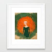 pixar Framed Art Prints featuring Merida from Brave (Pixar - Disney) by Delucienne Maekerr