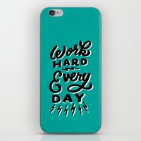 work hard iPhone & iPod Skins featuring Work Hard! by Dude, Be Awesome