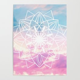 Star Mandala Unicorn Pastel Clouds #3 #decor #art #society6 Poster