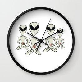 Meditating Alien Group Wall Clock