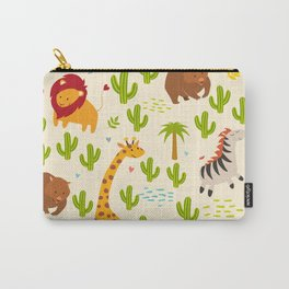 Animals seamless vector background. Giraffe, zebra, wombat and cactus, palm. Children, print, funny Carry-All Pouch