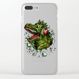 Dino with Headphones Brown Raw Umber Clear iPhone Case