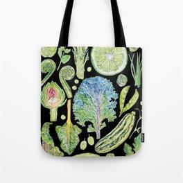 Harvest of Green - Black Tote Bag