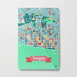 Yangon Map Metal Print