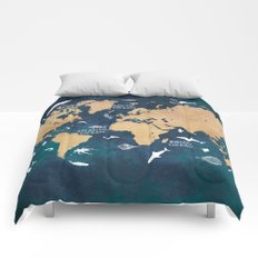 World Map Oceans Life blue Comforters