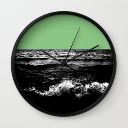Black Wave w/Mint Green Horizon Wall Clock