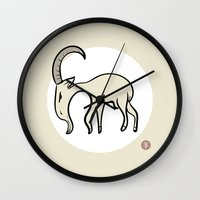 goat Wall Clocks featuring Goat by Emir Simsek
