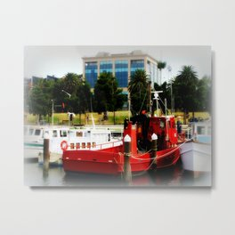 Little red tug Boat Metal Print