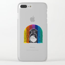 rainbow rain Clear iPhone Case