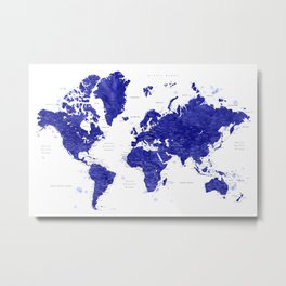 "Navy blue watercolor world map with cities, ""Ronnie"" Metal Print"