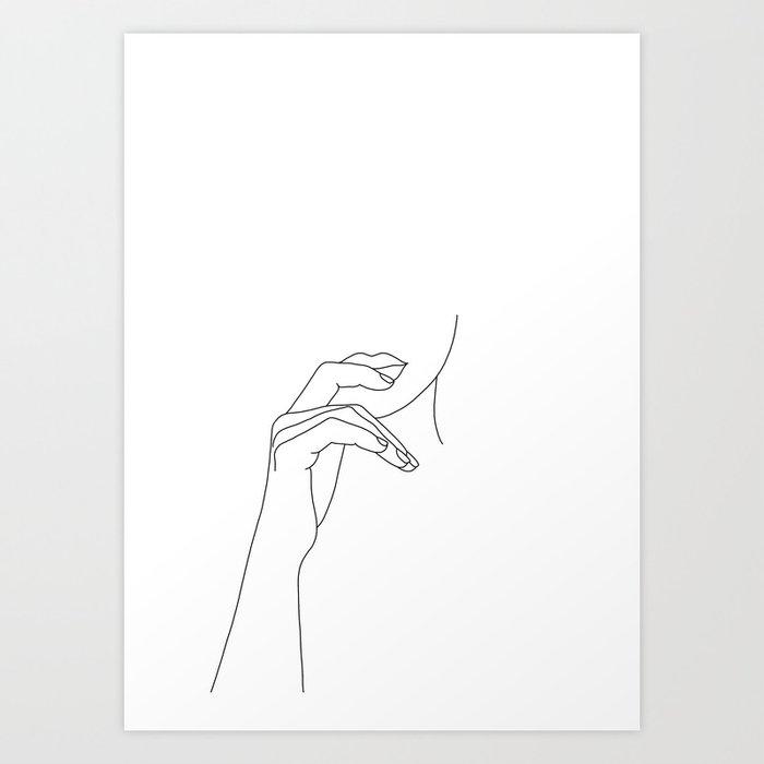 Hands line drawing illustration - Grace Kunstdrucke