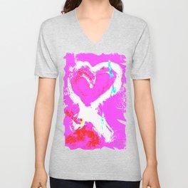 Pink Graffiti Ribbon for Breast Cancer Research by Jeffrey G. Rosenberg Unisex V-Neck