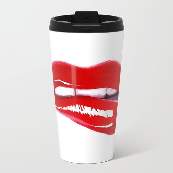 Red Lips Metal Travel Mug
