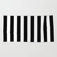 Classic Black and White Football / Soccer Referee Stripes Beach Towel