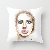lana Throw Pillows featuring Lana  by Ami Leigh Barrett