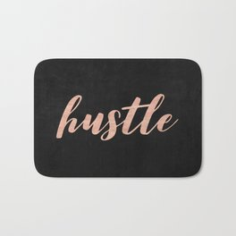 Hustle Rose Gold Pink on Black Bath Mat