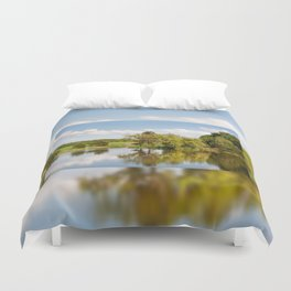 Lake and trees rural landscape Duvet Cover