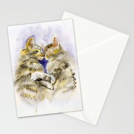 Kittens hugging Stationery Cards