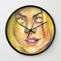 bad wolf Wall Clocks featuring Bad Wolf by JenHoney