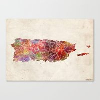 puerto rico Canvas Prints featuring Puerto Rico warm colors by MapMapMaps.Watercolors