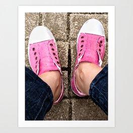 Pink sneakers. Art Print