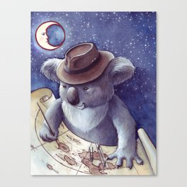 Koala Yuki Navigates by Moon Canvas Print