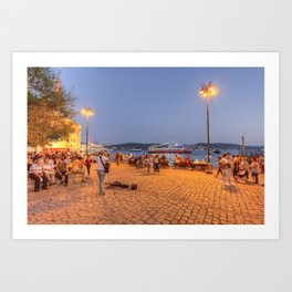 Istanbul At Night Art Print
