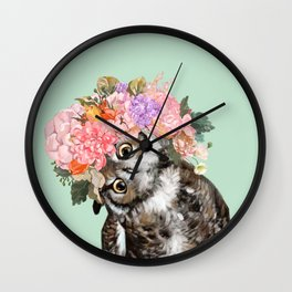 Owl with Flowers Crown in Green Wall Clock