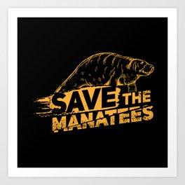 Save The Manatees I - Nature & Wildlife Gift Art Print