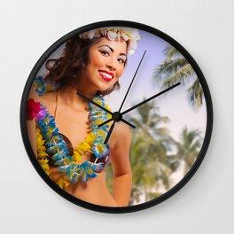 """Aloha"" - The Playful Pinup - Coconut Shell Bikini Pinup Girl by Maxwell H. Johnson Wall Clock"