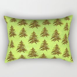 Sparkly Gold Christmas tree on abstract green paper Rectangular Pillow