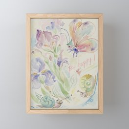 Be happy Quote Watercolor fancy illustration for children Framed Mini Art Print