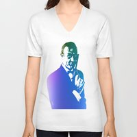 james bond V-neck T-shirts featuring James Bond - True Blue by D77 The DigArtisT