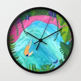 Tropical Pool Adventure Wall Clock
