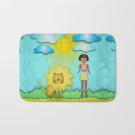 The girl and the lion Bath Mat
