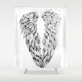 Black and White Angel Wings Shower Curtain