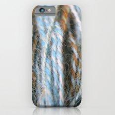 Aqua, teal, blue, rust, orange brown handspun yarn iPhone 6s Slim Case