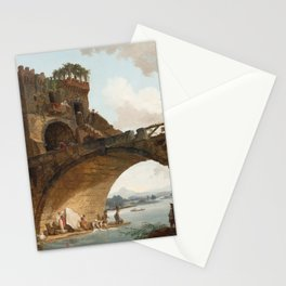 The Ponte Salario Oil painting by Hubert Robert Stationery Cards
