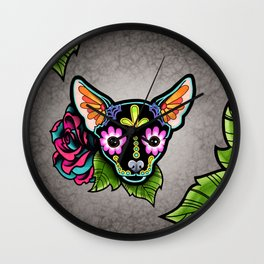 Chihuahua in Black - Day of the Dead Sugar Skull Dog Wall Clock