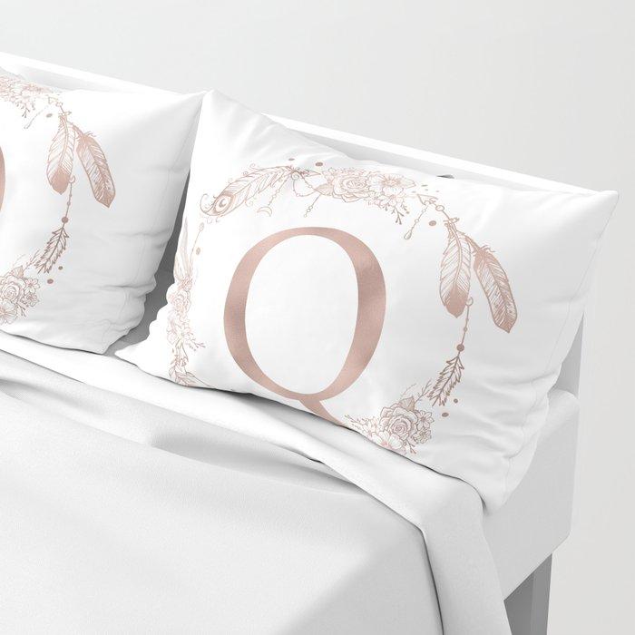 Letter Q Rose Gold Pink Initial Monogram Pillow Sham