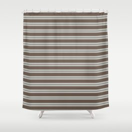 BM Mustang Brown & Color of the Year 2019 Metropolitan Light Gray Double Bold Horizontal Stripes Shower Curtain