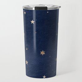 Good night - Leaf Gold Stars on Dark Blue Background Travel Mug