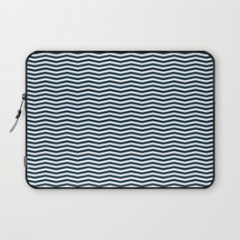Midnight Blue and White Christmas Wavy Chevron Stripes Laptop Sleeve
