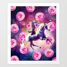 Thug Space Cat On Unicorn - Donut Art Print