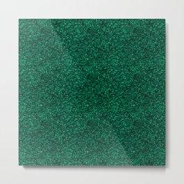 Dark Green Glitter Pattern Metal Print