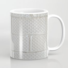 Background of white brick wall pattern texture. Great for graffiti inscriptions. Coffee Mug