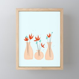 Peach Flower Vases Framed Mini Art Print